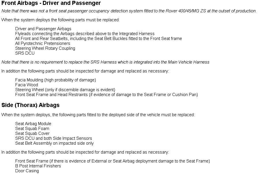 MG Rover 400 Vehicle Information