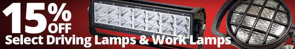 Save 15% on Select Driving Lamps & Work Lamps