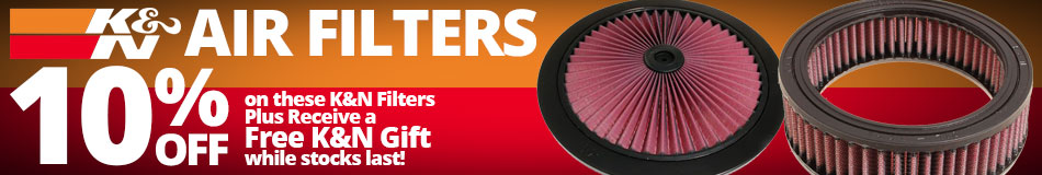 10% off these K&N Filters Plus Receive a Free K&N Gift while stocks last