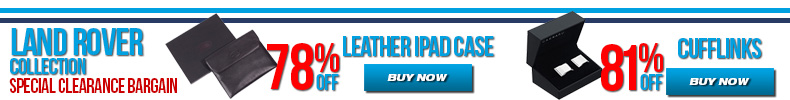 Special Clearance Bargains on Land Rover Collection - Land Rover Leather iPad Case and Modern Cufflinks