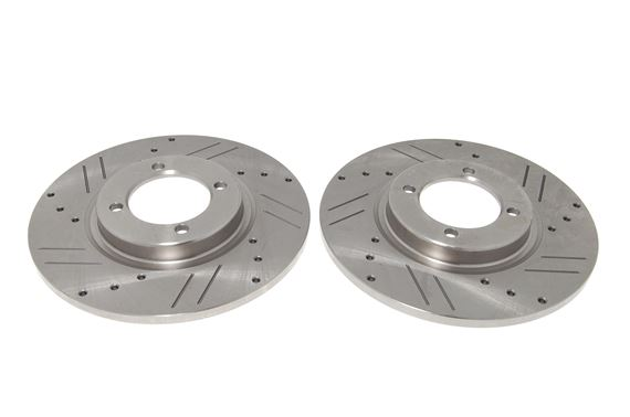 Brake Disc Set - Pair - Cross Drilled and Grooved - Spitfire/Herald/Vitesse - 208715XD - TRW