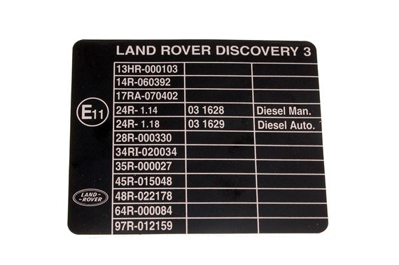 Decal - E Mark - Vehicle Build - Genuine Land Rover