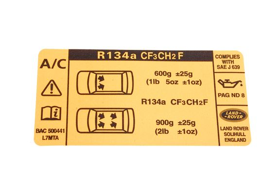 Label - Air Conditioning Refrigerant - Genuine Land Rover