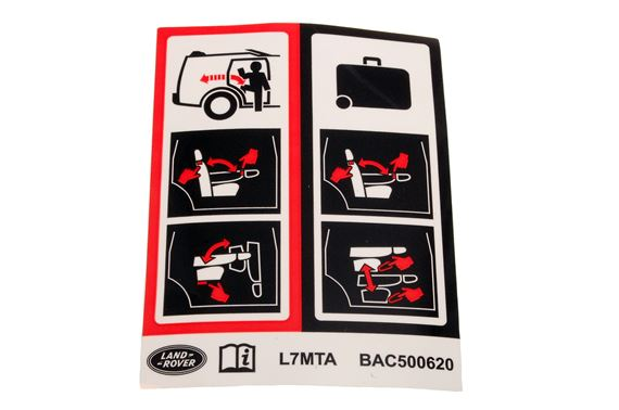 Decal - 3rd Row Seat Instructions - Genuine Land Rover