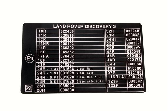 Decal - E Mark - Emissions - Genuine Land Rover
