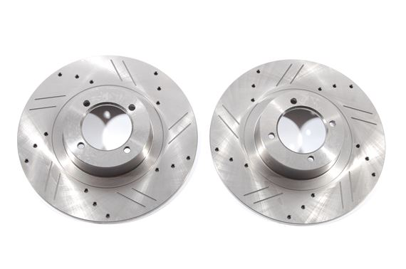 Front Brake Discs - Pair - MGB - Slotted & Drilled - BTB387XD - TRW