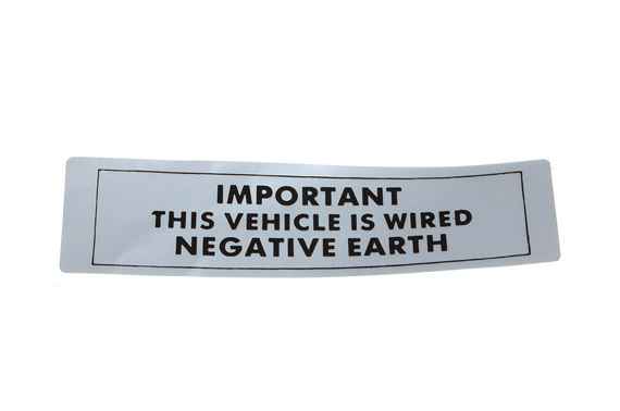 Engine Label - Negative Earth - CRST113