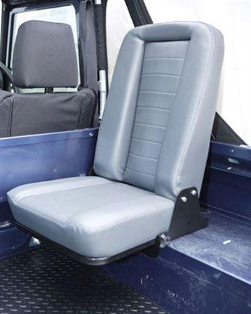 TO 2007 LAND ROVER DEFENDER REAR INWARD FACING FOLDING SEAT BLACK VINYL DA4067