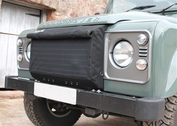 LAND ROVER DEFENDER RADIATOR MUFF GRILL COVER CHRISTMAS SPECIAL BLACK