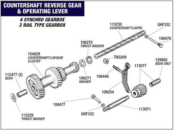 Triumph Herald Countershaft - Reverse Gear and Operating Lever