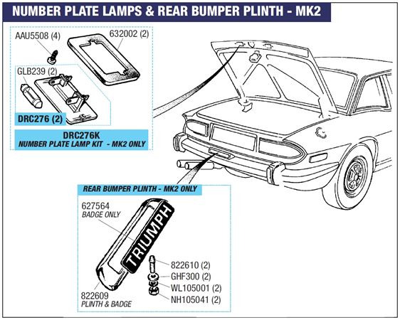 Triumph Stag Number Plate Lamp - MK2 Models Only