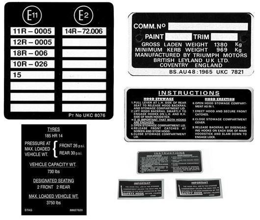 Triumph Stag Vehicle Information Labels & Kits