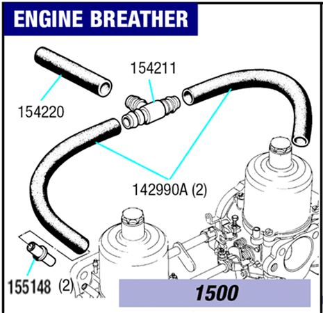 Triumph Spitfire Engine Breather System - 1500