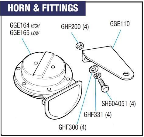 Triumph Spitfire Horns and Fittings - All Models