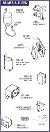 GRID005837 triumph spitfire relays and fuses all models rimmer bros