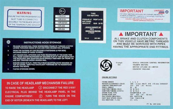 Triumph TR7 Air Cleaner Assembly - Information Labels (All Vehicles)