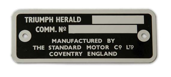 Triumph Herald Chassis Plate