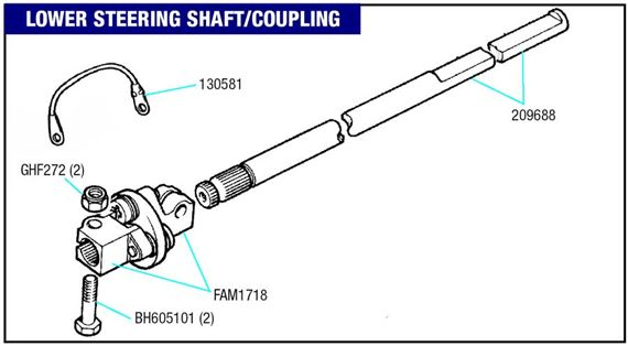 Triumph GT6 Steering Shaft and Fittings