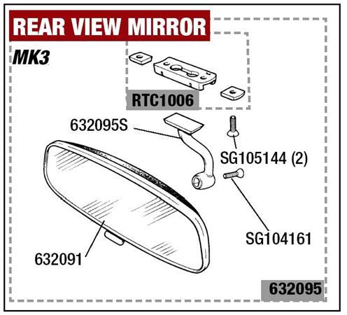 Triumph GT6 Rear View Mirror - Mk3