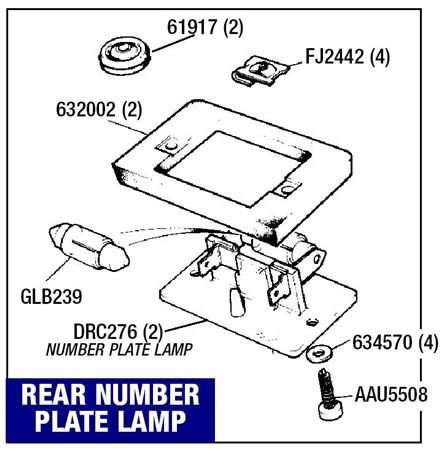 Triumph 2000/2500/2.5Pi Number Plate Lamp - Saloon and Estate Models