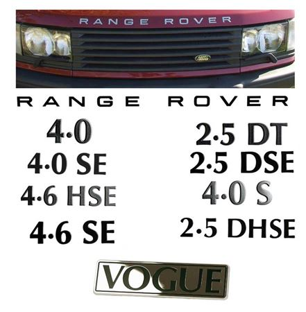 Range Rover 2 Decals and Badges