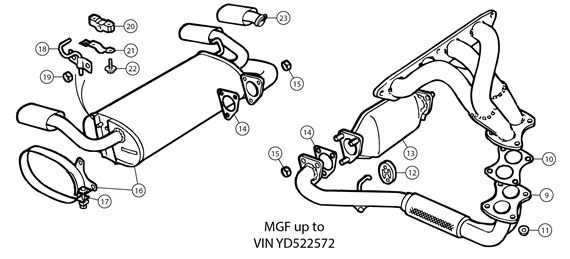 MGF Exhaust - Standard System MGF to 2000 (to VIN YD522572) - 4 Stud Downpipe/Elbow on Silencer