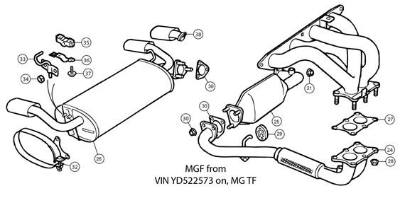 MGF and MG TF Exhaust - Standard System MGF/MG TF 2000 on (YD522573 on) - 6 Stud Downpipe/Elbow on Catalytic Converter