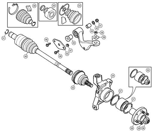 MG TF Driveshaft & Rear Hub