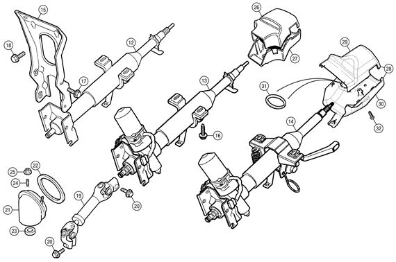 Mgf And Mg Tf Steering Column And Shaft
