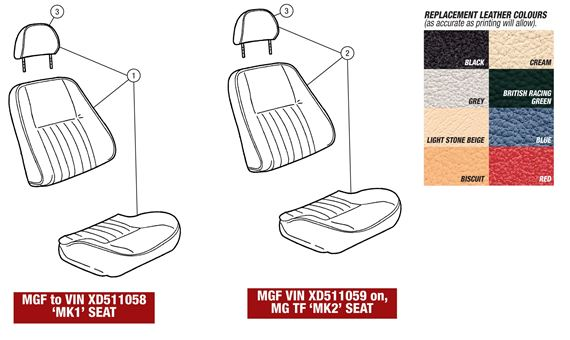 MGF and MG TF Seat Covers and Head Restraints