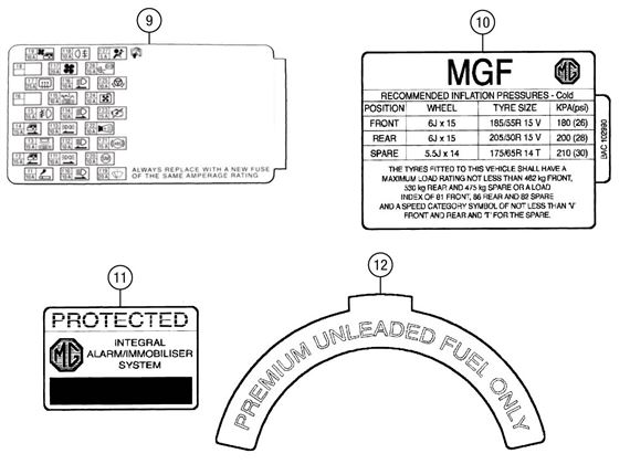 mgf and mg tf body labels