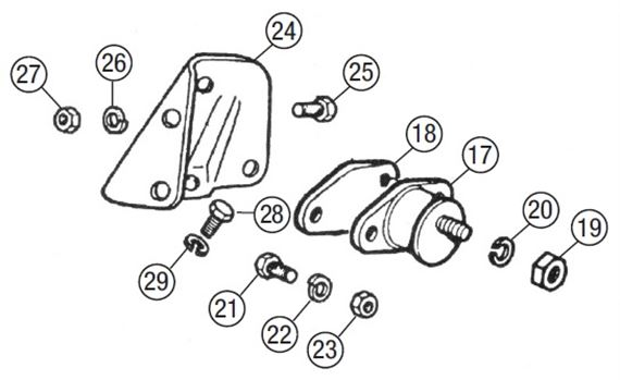 MGB Engine Mountings - 4 Cylinder Rubber Bumper Models