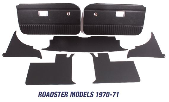 MGB Trim Panel Kits - Roadster Models 1970-1971 - Heat Welded Panels without Chrome Strip