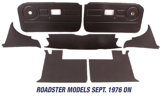 MGB Trim Panel Kits - Roadster Models Sept 1976 On - Window Winder Sweep Circle On Door Panels