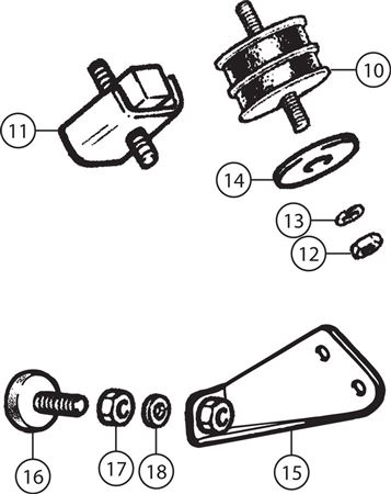 Triumph TR4-4A Engine Mountings