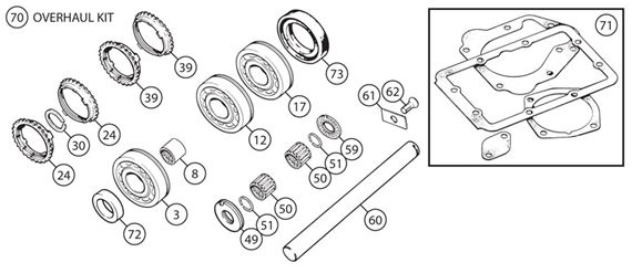 Triumph TR3B (TCF) TR4-4A-5-250 Gearbox Overhaul Kits - A Type Overdrive - 4 Synchro