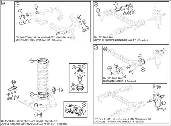 Triumph TR2-4 Complete Front Suspension Overhaul Kits - TR4 from CT6344 (wire wheels) & CT6390 (steel wheels)