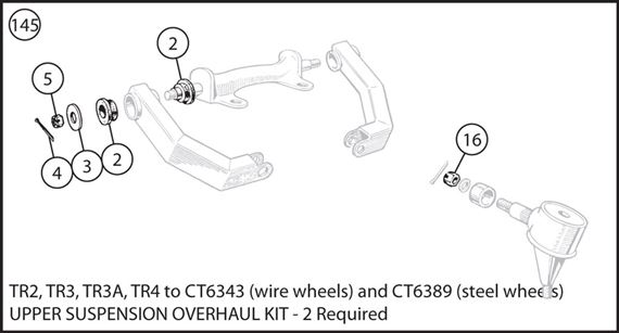 Triumph TR2-4 Upper Suspension Overhaul Kit - TR2, TR3, TR3A, TR4 to CT6343 (wire wheels) and CT6389 (steel wheels)
