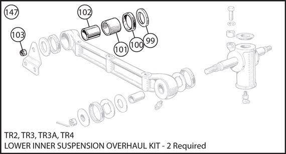 Triumph TR2-4 Lower Inner Suspension Overhaul Kit