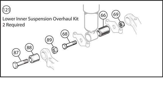 Triumph TR4A-250 Lower Inner Suspension Overhaul Kit