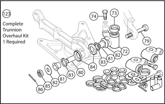 Triumph TR4A-250 Complete Trunnion Overhaul Kit