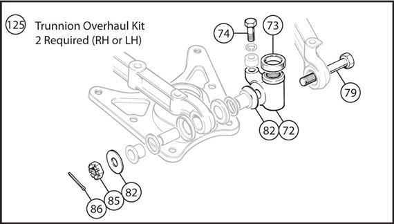 Triumph TR4A-250 Trunnion Overhaul Kit - LH