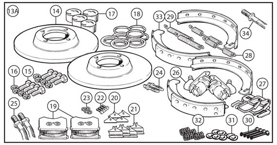 Triumph TR3 from TS13046, TR3A to TS15331 Brake Overhaul Kits - Full