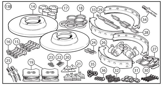 Triumph TR3 from TS15332, TR3A to TS34403 Brake Overhaul Kits - Full