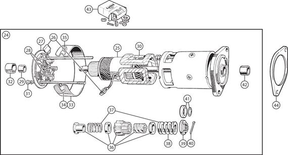 Triumph TR3A from TS50001, TR4, TR4A Starter Motor Type B Long with Exposed Bendix Gear - 4 Cylinder