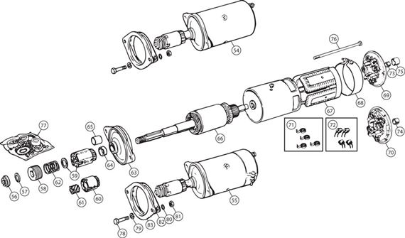 triumph tr250 starter motors - early lucas 25022 and 25079