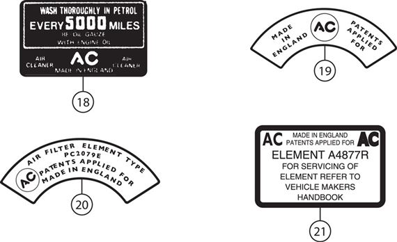 Triumph TR2-5 Air Cleaner Labels