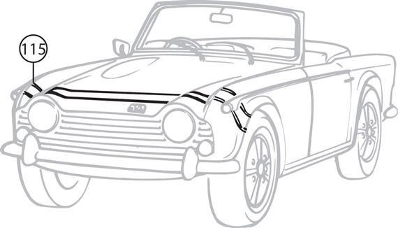 Triumph TR4-250 Bonnet Stripes