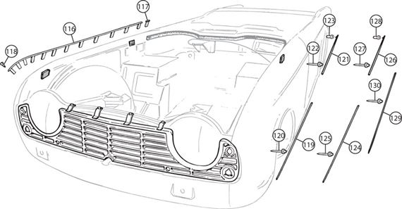Triumph TR4-250 Wing Beading and Body Mouldings