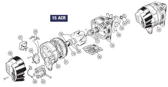 triumph tr6 lucas 15 acr alternator - to (c) cp52785 approx